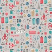 A Stitch in Time by Makower UK - 6439 - Notions on Grey - 2135_S - Cotton Fabric
